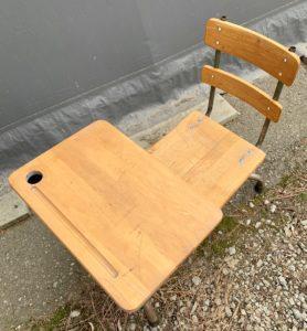 vintage child school desk on online auction