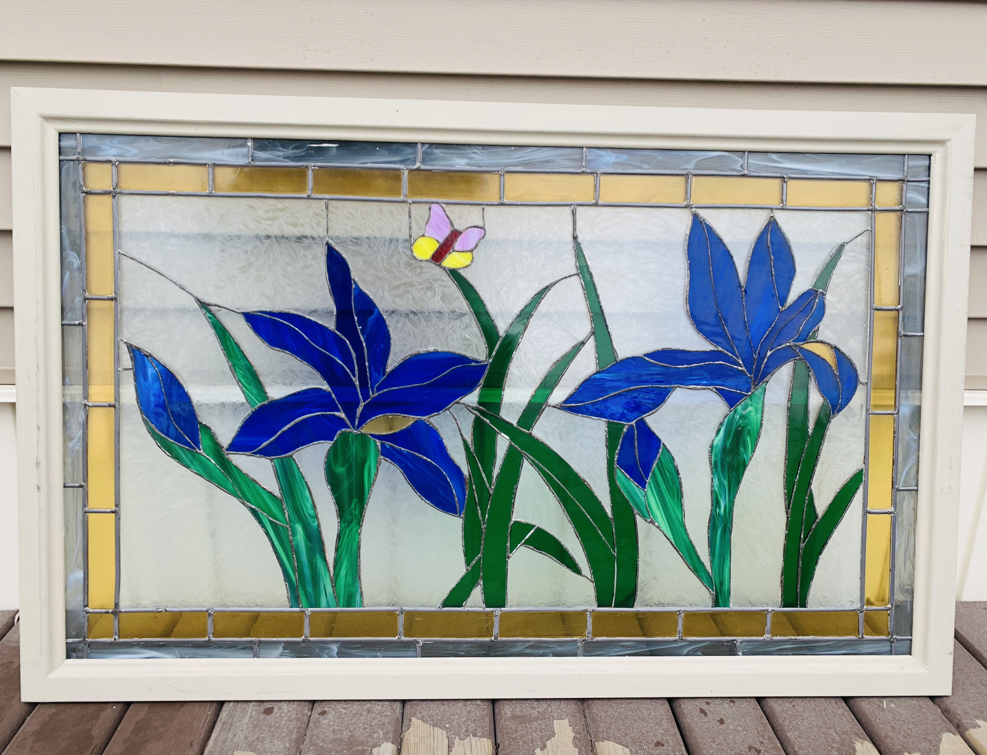 Stained Glass Window Panel with Flowers