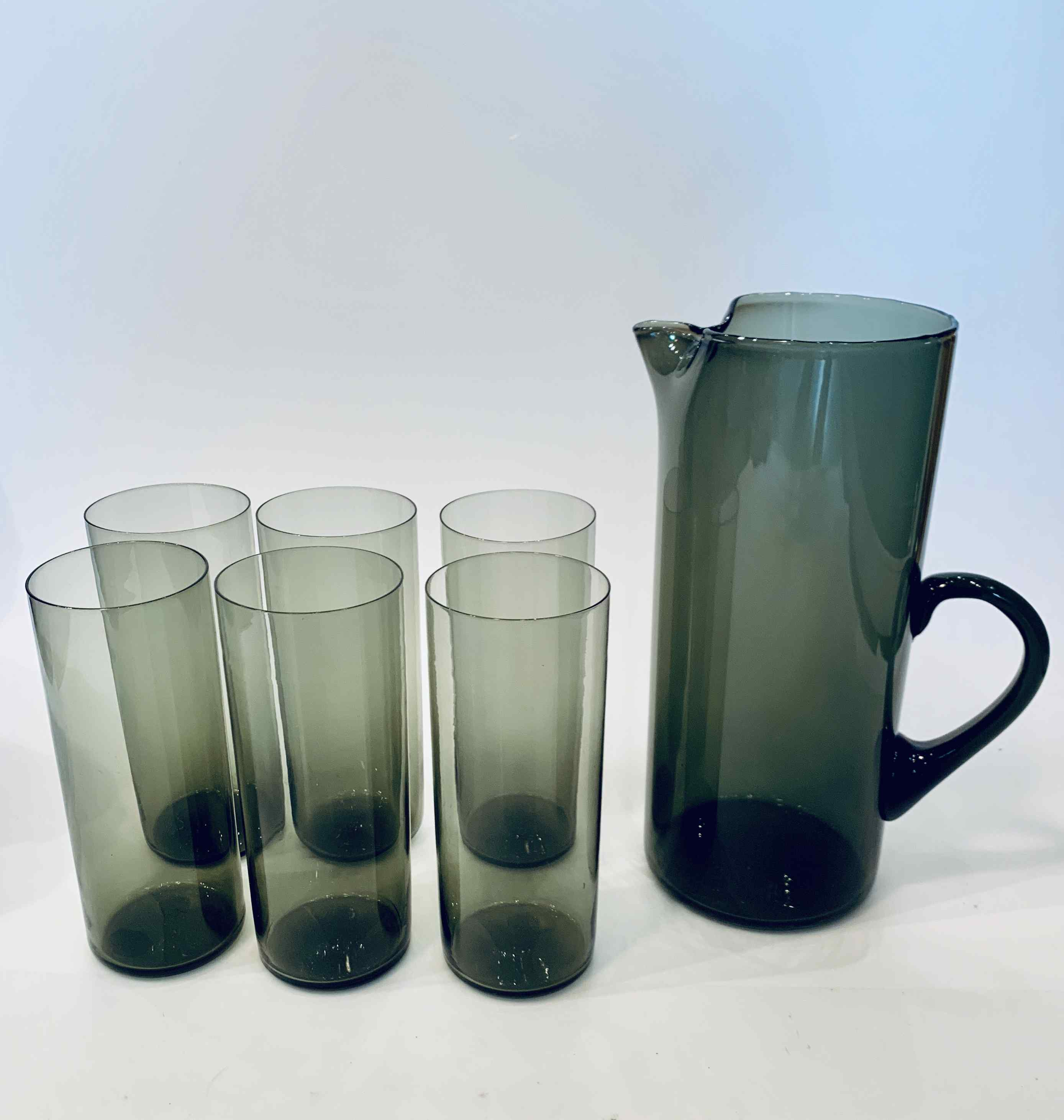 Smoked Glass Pitcher and 6 tall Glasses