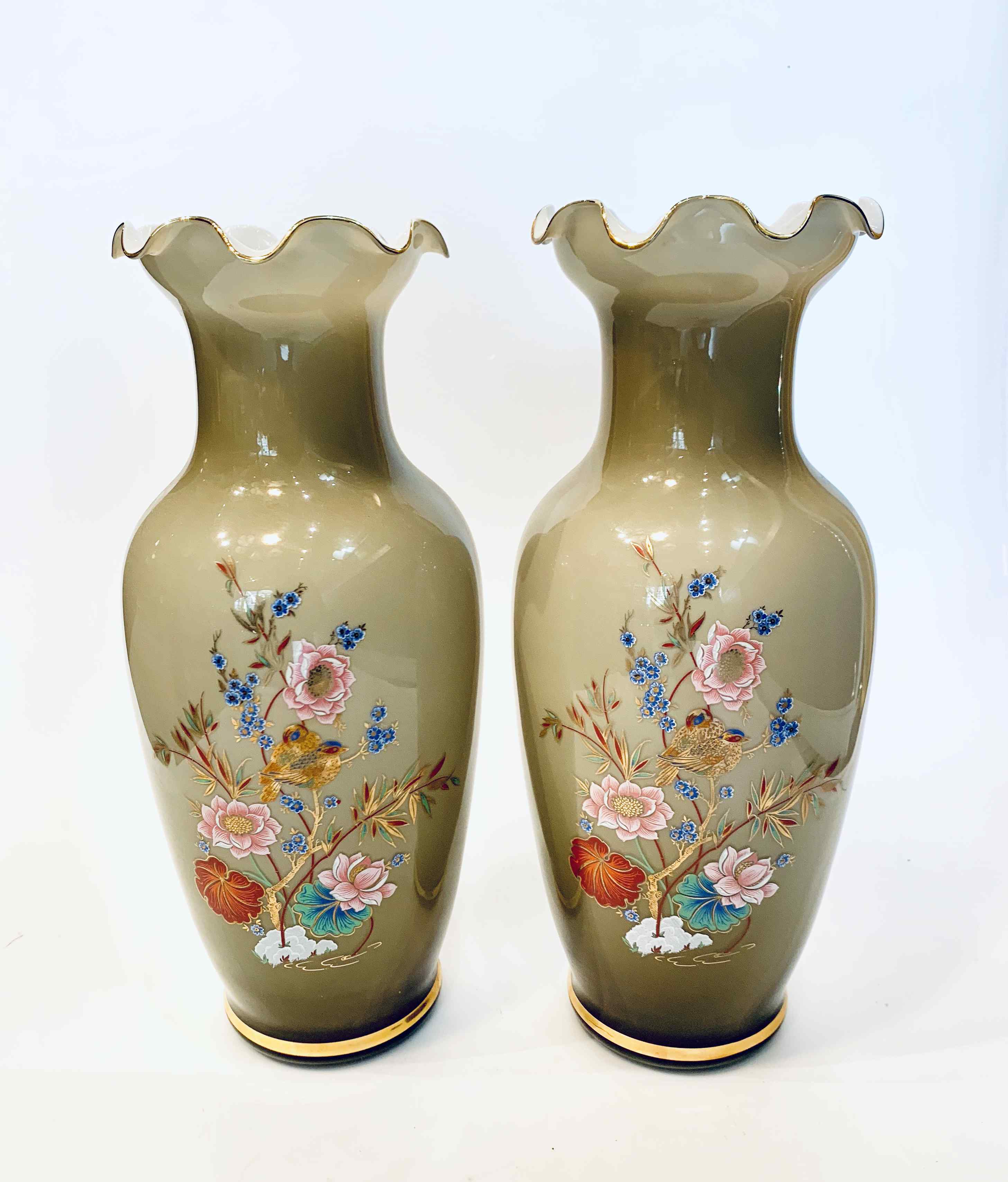 Set of 2 Large Glass Vases