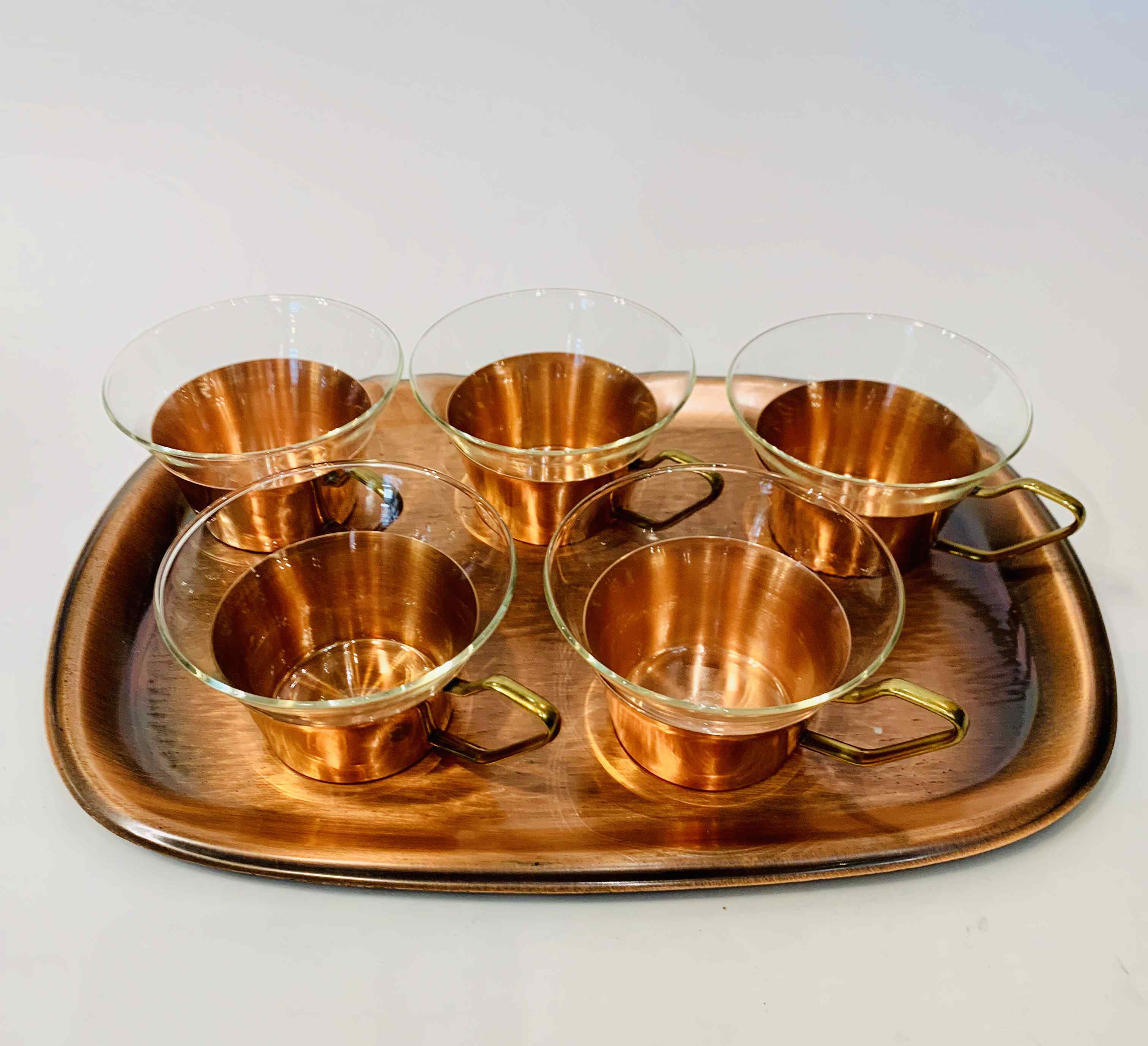 Vintage Copper & Glass Teacups with a Tray