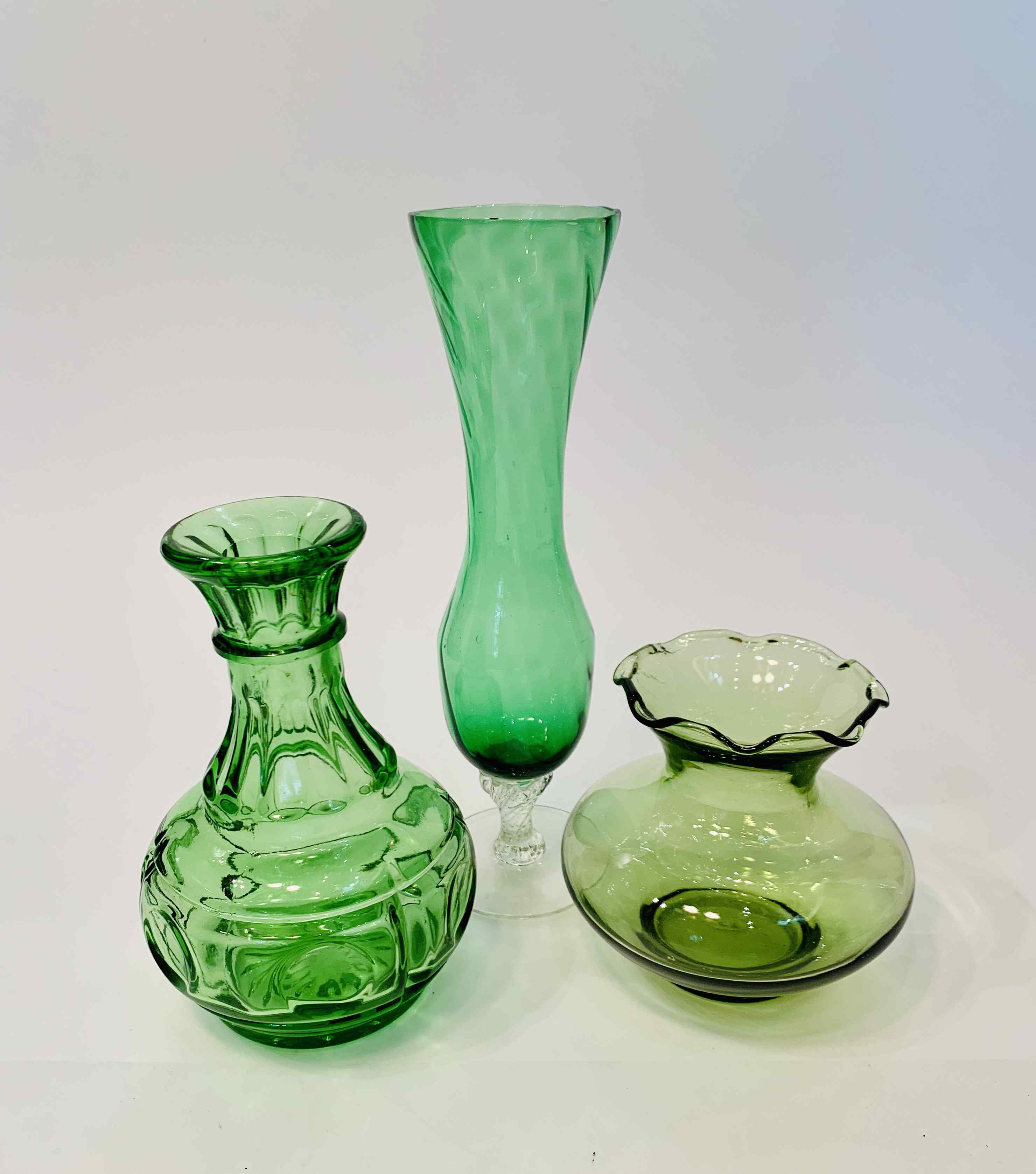 Set of 3 Decorative Green Glass Vases